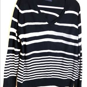 M&S COLLECTION  Striped V-Neck Sweater Siz…